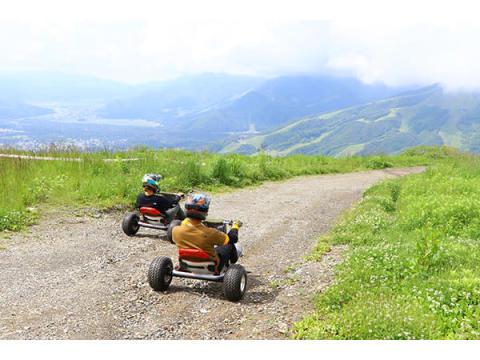 白馬岩岳山頂から最大時速50kmで疾走!海外で人気の「Mountaincart」が日本初登場