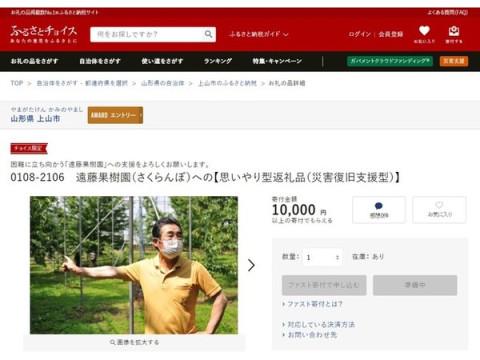 凍霜被害を受けた上山市のさくらんぼ農家を支援!「きふと、」で寄付を募集中