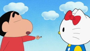 ハローキティ×しんのすけ、TVアニメで夢のコラボだゾ!